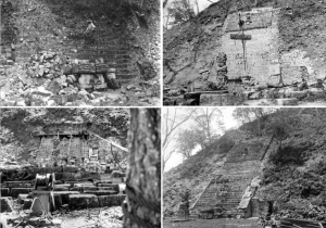 """Copán Hieroglyphic Stairway, Phasen der Rekonstruktion. Aus: """"The Hieroglyphic Stairway of Copán, Honduras. Study Results and Conservation Proposals. A Project Report"""". Copyright © 2006 J. Paul Getty Trust and Instituto Hondureño de Antropología e Historia."""